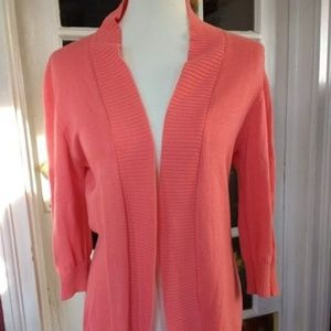 Open Front Coral Orange Pink Cardigan Sweater